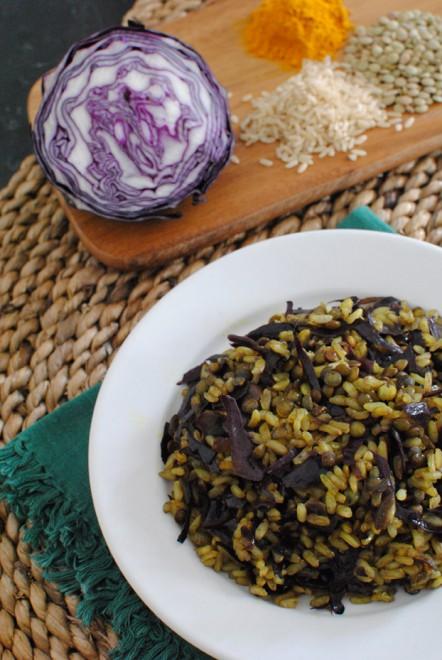 riso integrale cavolo rosso lenticchie 1
