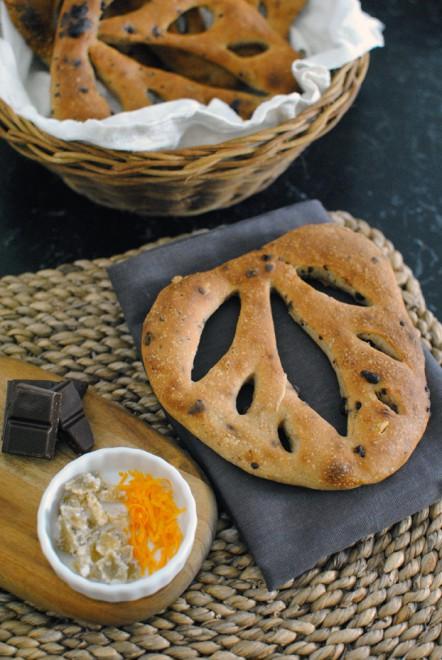 Maroggia's Mill Cookbook- Dark Chocolate, Candied Ginger and Orange Zest Fougasse - Il Ricettario del Mulino di Maroggia- Fougasse al cioccolato fondente, zenzero candito e scorza d'arancia 1