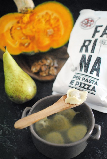Pumpkin Pears and Walnut Ravioli in Vegetable Broth Tortelli di zucca pere e noci in brodo vegetale 2